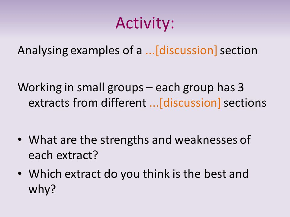 Activity: Analysing examples of a ...[discussion] section